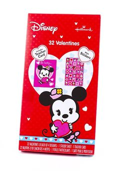 24 Count Frankford Mickey Mouse Minnie Mouse Valentine Classroom Exchange Cards with Heart Shaped Lollipop