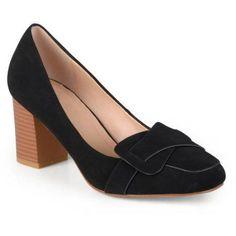 Brinley Co. Women's Mid Heel Vintage Loafer Pumps, Size: 6, Black