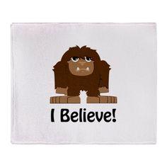 I Believe! Bigfoot Throw Blanket on CafePress.com