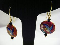 Red Cloisonne and Agate Earrings £7.00
