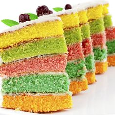 Make a rainbow layer cake for that very special event coming up.  You can use any colors you wish in your layer cake.  Great with ice cream.