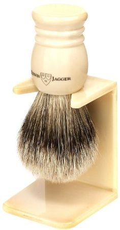 Edwin Jagger 9ej257sds Handmade Imitation Ivory Shaving Brush with Drip Stand, Ivory, Small