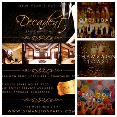 """12/31 Wed. New Years Eve 2015! A EXCLUSIVE PREMIERE EVENING OF YOUR NEW YEARS EVE """"DECADENT 2015!"""" Tickets / VIP/Table / Hotel Room Suite Package RSVP > http://sfmansionparty.com/?rn=soulkrush  $50 off on GA Tickets Promo Code > SOULKRUSH $250 off on Bottle Services Promo Code > SOULKRUSH"""