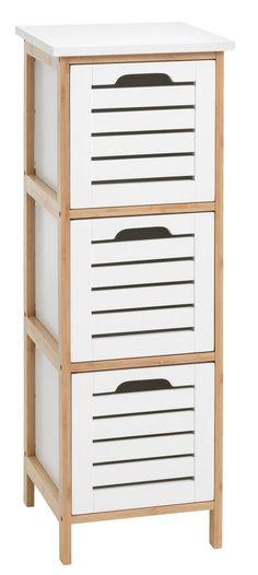 Lipasto BROBY 3 laatikkoa bambu/valk. | JYSK