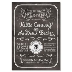 Blackboard Invitation - Unique Chalkboard Wedding Invitation by The Green Kangaroo
