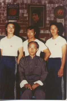~Sifu Moy Yat with Students, Including Mickey Chan(left), and Dan Inosanto(middle)~