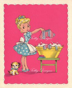 The Perfect Housewife 1940s Vintage Greetings by poshtottydesignz