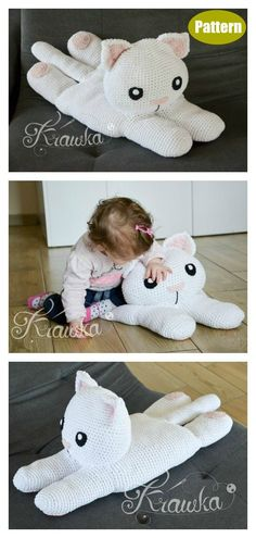 6 Fun Animal Cat Pillow Free Crochet Pattern and Paid - Page 2 of 2 - Amigurumi Gato Crochet, Crochet Cat Pattern, Easy Crochet Patterns, Crochet Dolls, Knitting Patterns, Knitting Toys, Crochet Blocks, Afghan Patterns, Square Patterns