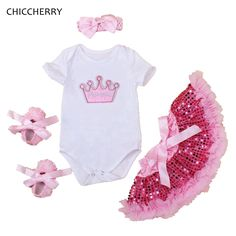 >> Click to Buy << Crown Princess Baby Girl Clothes Pink Infant Jumpsuit Headband Party Sequins Skirt Vetements Fille Toddler Tutu Birthday Outfits #Affiliate
