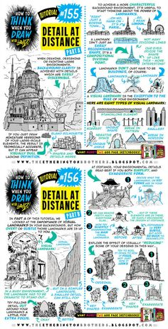 Here's a brand new TUTORIAL: How to think, when you draw more details at a distance! On… - Architecture Drawing Drawing Lessons, Drawing Techniques, Drawing Tips, Drawing Reference, Manga Drawing, Landscape Drawing Tutorial, Landscape Drawings, Art Drawings, Landscapes