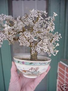 VINTAGE-JAPANESE-TWISTED-WIRE-GLASS-BEAD-BONSAI-FLOWER-MINIATURE-BEADED-ART-TREE