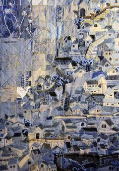 Quilt Nihon Korean Denim Quilt by Soo Hee Lee of Korea Patchwork Jeans, Denim Quilts, Blue Jean Quilts, Denim Art, Textile Fiber Art, House Quilts, Landscape Quilts, Fabric Art, Shibori