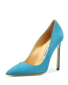 BB+Suede+115mm+Pump,+Malibu+Blue+(Made+to+Order)+by+Manolo+Blahnik+at+Neiman+Marcus.