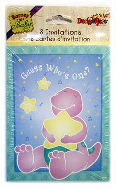 Barney 1st Birthday Invitations W Env 8ct