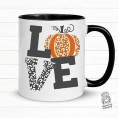 LOVE Pumpkin Coffee Mug-Pumpkin Fall Mug-Leopard Pumpkin Mug-Pumpkin Spice Mug-Coffee Mug for Fall-Halloween Coffee Mug-Fall Mug Gift- Coffee Puns, Cute Coffee Mugs, Coffee Gifts, Cute Mugs, Coffee Mug Display, Autumn Coffee, Halloween Mug, Fall Pumpkins, Ceramic Mugs