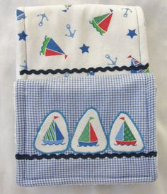 FREE SHIPPING**Baby Burp Cloths-Set of Two-Triple Layers-Blue Plaid/Sailboat-Boy by TeresasSewingCorner on Etsy