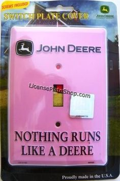 Pink John Deere Single Light Switch Cover, Nothing runs like a Deere. Single Light Switch Cover