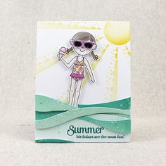 Summer Birthdays Card by Lizzie Jones for Papertrey Ink (May 2016)