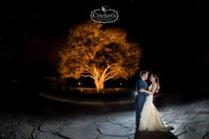 It's hard to get a better night shot of the bride and groom. Think about spotlighting your favorite feature at your wedding venue.