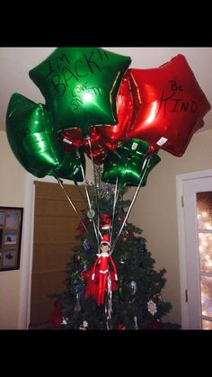 Welcome back balloons 200 Easy Elf on the Shelf Ideas - Raining Hot Coupons All Things Christmas, Christmas Holidays, Christmas Crafts, Christmas Decorations, Xmas Elf, Magical Christmas, Handmade Christmas, Happy Holidays, Christmas Ideas
