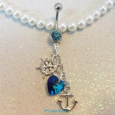 Anchor and blue crystal heart belly button jewelry ring in 14 gauge Belly Button Jewelry, Belly Button Piercing, Belly Button Rings, Belly Piercings, Body Jewelry, Jewelry Rings, Jewelery, Jewelry Crafts, Handmade Jewelry