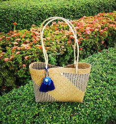 Eco Friendly Bags, Save The Elephants, Water Hyacinth, Straw Tote, Summer Accessories, Everyday Bag, Blue Bags, Red And White, Etsy Shop