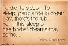 William Shakespeare- To die, to sleep - To sleep, perchance to dream...For in this sleep of death what dreams may come.