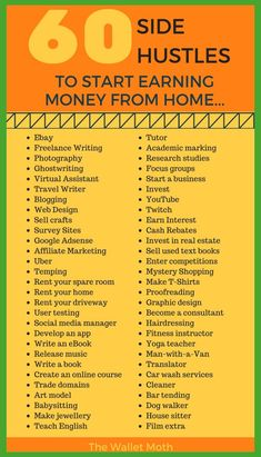 A complete list of side hustle ideas to start making money from home or online today. Diversify your income with any of these money making projects.Over 60 Side Hustle Ideas to Start Making Money from Home Ways To Earn Money, Earn Money From Home, Earn Money Online, Money Tips, Way To Make Money, Money Saving Tips, Online Income, Money Hacks, Making Money From Home