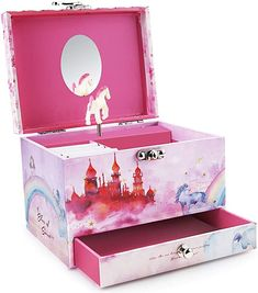 Amazon.com: Abody Girl's Musical Jewelry Storage Box, Music Jewelry Box with Spinning Horse, Pullout Drawer and Ring Slots, Includes Bonus 4 Clips and 2 Hair Bows, Pink Castle Design: Home & Kitchen Kids Jewelry Box, Music Jewelry, Pink Castle, Jewelry Storage, Cool Toys, Spinning, Toy Chest, Hair Bows, Drawer