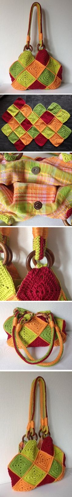 Square bag - *Inspiration* - Crochet - Work up a crochet bag and then line it with matching fabric on the inside.