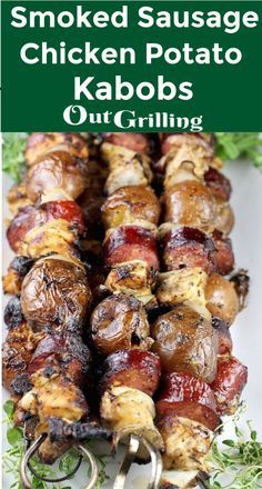 Smoked Sausage, Chicken and Potato Kabobs are the perfect dinner on the grill. E… Smoked Sausage, Chicken and Potato Kabobs are the perfect dinner on the grill. Easy enough for busy weeknights or weekend cookouts. When it's too hot to… Continue Reading → Barbecue Recipes, Grilling Recipes, Cooking Recipes, Vegetarian Grilling, Healthy Grilling, Barbecue Sauce, Tailgating Recipes, Easy Grill Recipes, Recipes For The Grill