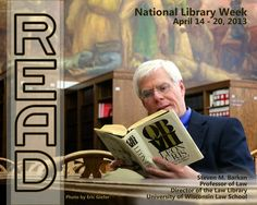 2013 READ Poster featuring Professor and Library Director Steve Barkan reading QBVII by Leon Uris.