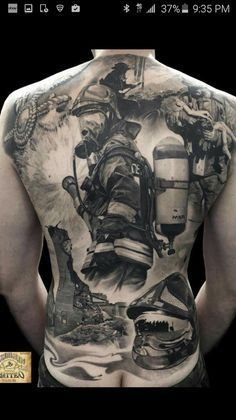 Firefighter back tattoo