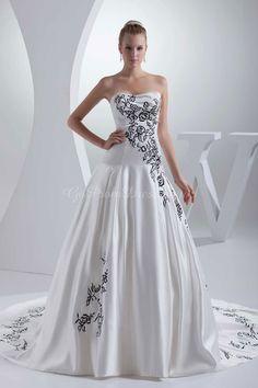 wedding dress,wedding dresses,wedding dress,wedding dresses ball gown satin strapless natural waist chapel train zipper sleeveless beading embroidery black white wedding dress