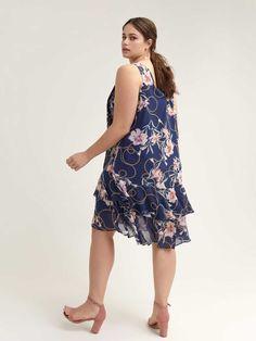 Floral Navy Dress with Flounce Hem Addition Elle, Navy Floral Dress, Navy Dress, Bleu Marine, Cold Shoulder Dress, Dresses, Fashion, Navy Gown, Floral Print Design