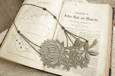 lace necklace OSANNA gray grey by tinaevarenee on Etsy, $36.00