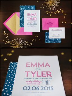 hot pink and navy wedding invitations @weddingchicks