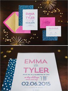 hot pink and navy wedding invitations @weddingchicks