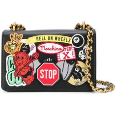 Moschino patch applique shoulder bag ($1,465) ❤ liked on Polyvore featuring bags, handbags, shoulder bags, clutches, black, shoulder bag purse, leather purses, real leather handbags, moschino purse and genuine leather handbags