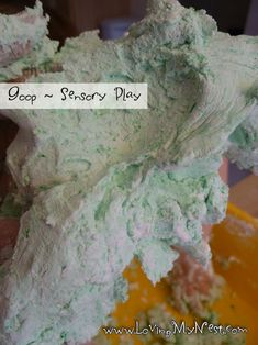 Goop Shaving Cream Corn Starch Food Coloring (optional)  Mix equal (ish) parts of shaving cream and corn starch. Add food coloring! - Repinned by Lessonpix.com
