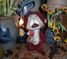 """Primitive Strawberry Teddy Bear 5"""" Doll Vtg Patti's Ratties Cub Artist Mini OOAK"""