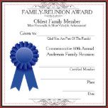"""Blue ribbon graphic with template of awards given at family reunions.  Filigree scrolls at top header and bottom.  Fill in the blanks for on the spot completion, and text templates to vary the type of award, sub-headline text about the award, reunion name and fill in the annual number of reunion.  Reverse:  A quotation given to each member receiving award.  *To customize quote, click the """"Customize it!"""" button to change text."""