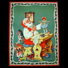 Santa putting the finishing touches on his latest masterpiece. Frame-tray puzzle by WHITMAN PUBLISHING-CO