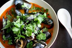 """""""Thai Curry Mussels. A most slurp-able broth made with coconut milk, red curry paste, lime, coriander and cilantro"""" wow that description sounds super good"""