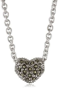 """Judith Jack Sterling Silver Marcasite and Crystal Pave Reversible Mini Heart Pentant Necklace, 16"""""""