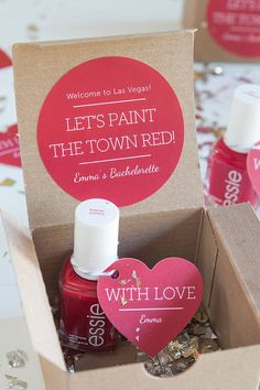 Great idea for Bachelorette Party Favors! Let's Paint the Town Red!