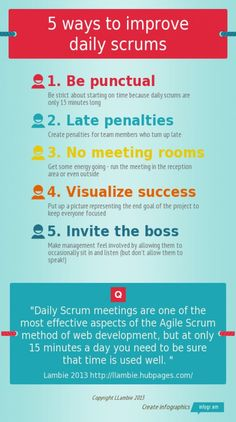 5 Ways to Improve Daily Scrums [Infographic] by @SomeProjectTips #scrum #agile PLEASE NOTE NUMBER 4! #vizthink