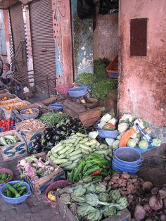 A typical market in #Marrakesh, #Morocco. I love to visit markets. You learn a lot about the people!