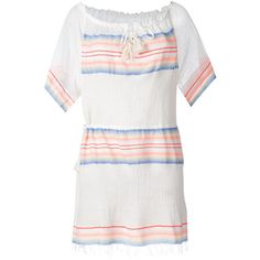 Lemlem Drawstring Neck Mini Dress (20,290 INR) ❤ liked on Polyvore featuring dresses, lemlem dress, white drawstring dress, mini dress, white mini dress and white day dress