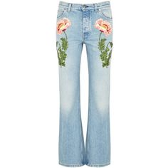 Gucci Floral-appliquéd Flared Jeans - Size WWCHILD27 found on Polyvore featuring jeans, pants, blue jeans, blue floral jeans, 5 pocket jeans, flare leg jeans and faded jeans